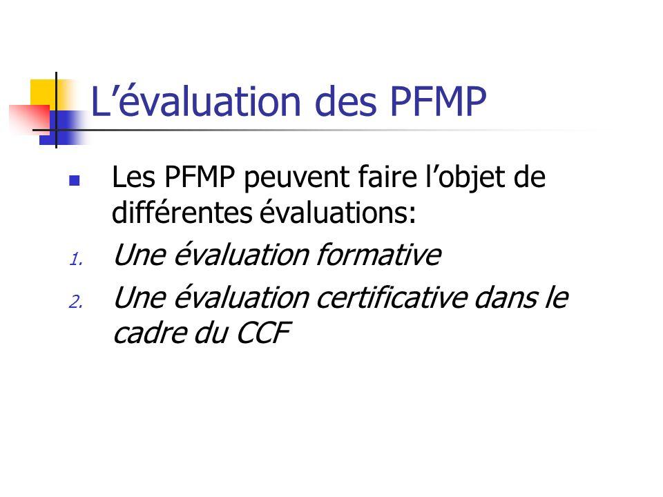 Lévaluation des PFMP Les PFMP peuvent faire lobjet de différentes évaluations: 1. Une évaluation formative 2. Une évaluation certificative dans le cad