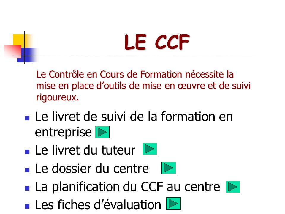 LE CCF Le livret de suivi de la formation en entreprise Le livret du tuteur Le dossier du centre La planification du CCF au centre Les fiches dévaluat