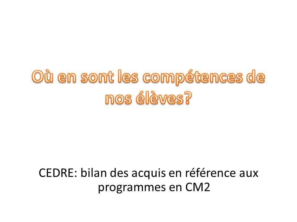 CEDRE: bilan des acquis en référence aux programmes en CM2