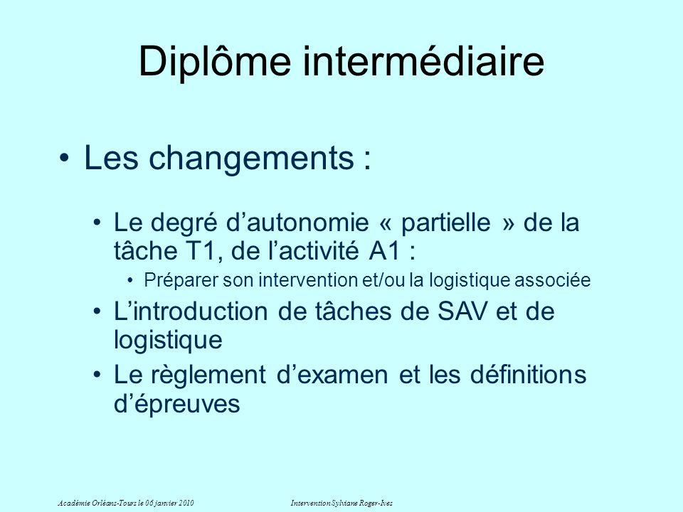 Diplôme intermédiaire Académie Orléans-Tours le 06 janvier 2010Intervention Sylviane Roger-Ives Les changements : Le degré dautonomie « partielle » de