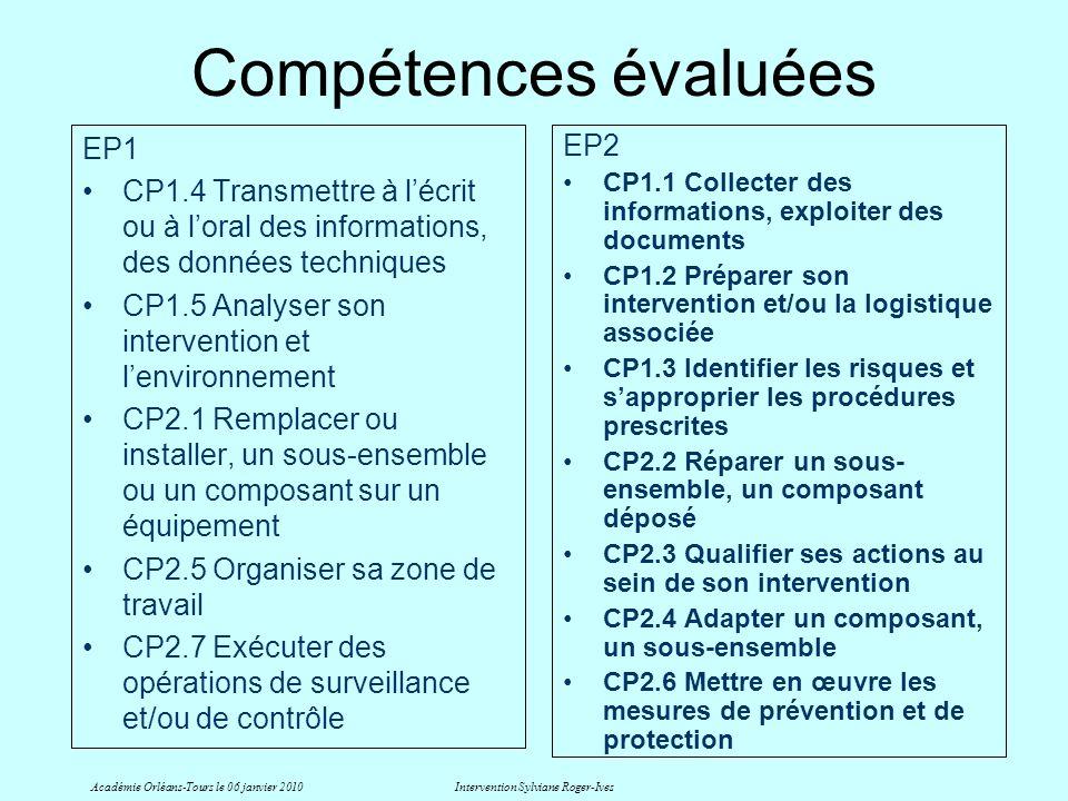 Compétences évaluées EP1 CP1.4 Transmettre à lécrit ou à loral des informations, des données techniques CP1.5 Analyser son intervention et lenvironnem