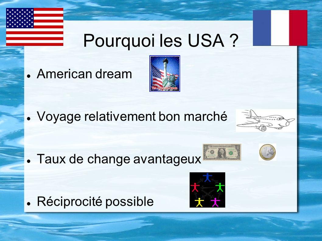 Pourquoi les USA ? American dream Voyage relativement bon marché Taux de change avantageux Réciprocité possible