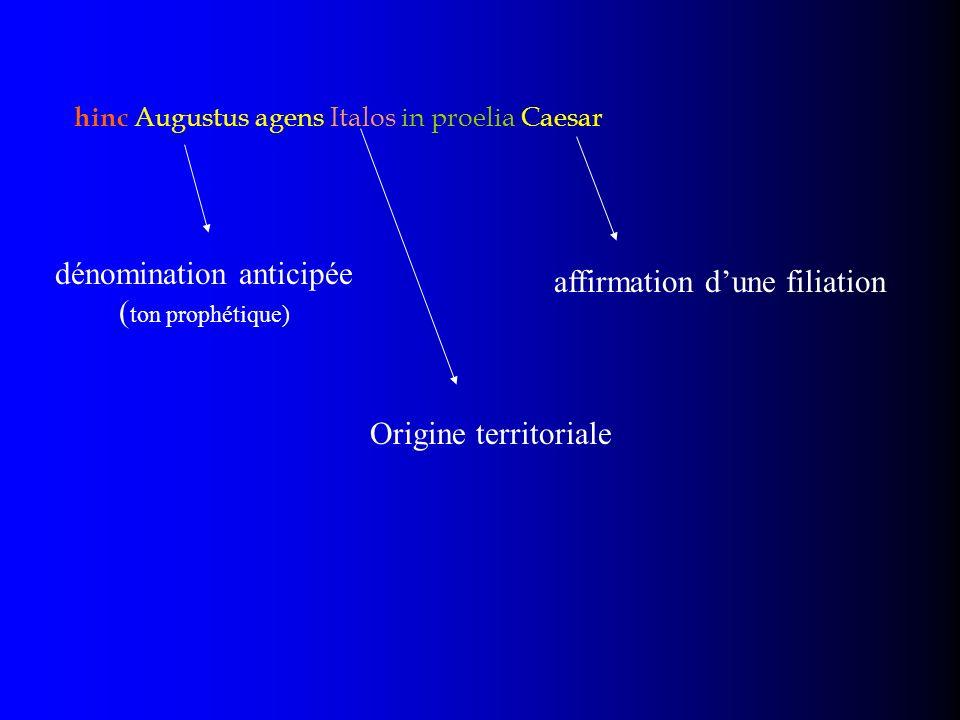 hinc Augustus agens Italos in proelia Caesar dénomination anticipée ( ton prophétique) affirmation dune filiation Origine territoriale