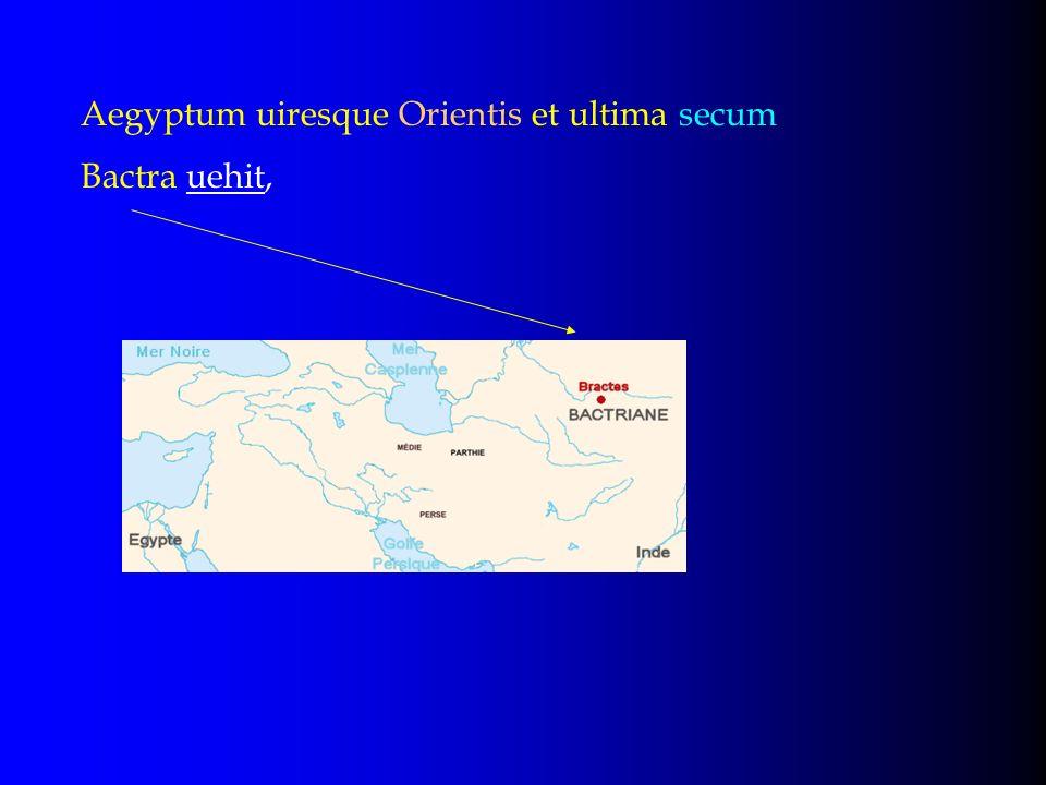 Aegyptum uiresque Orientis et ultima secum Bactra uehit,