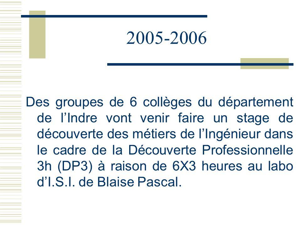2005-2006 Des groupes de 6 collèges du département de lIndre vont venir faire un stage de découverte des métiers de lIngénieur dans le cadre de la Déc