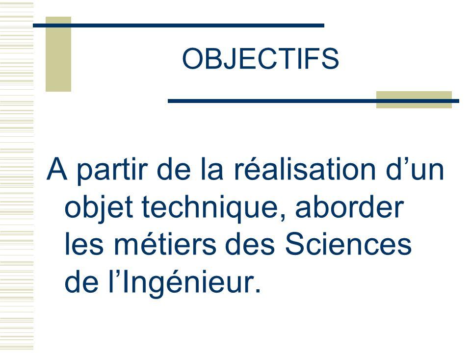 OBJECTIFS A partir de la réalisation dun objet technique, aborder les métiers des Sciences de lIngénieur.