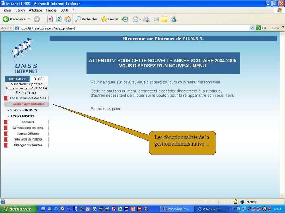 11/02/200526 Les fonctionnalités de la gestion administrative…