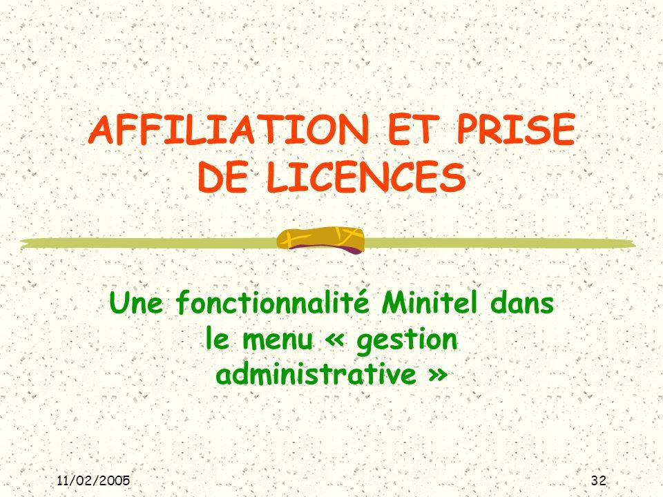 11/02/200532 AFFILIATION ET PRISE DE LICENCES Une fonctionnalité Minitel dans le menu « gestion administrative »