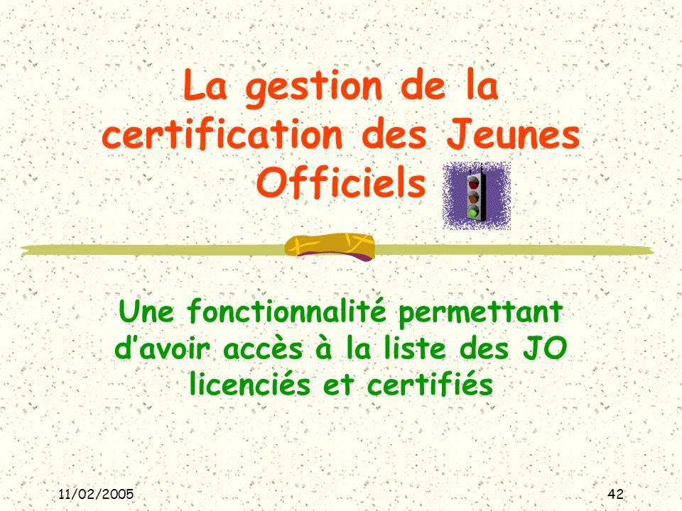 11/02/200542 La gestion de la certification des Jeunes Officiels Une fonctionnalité permettant davoir accès à la liste des JO licenciés et certifiés