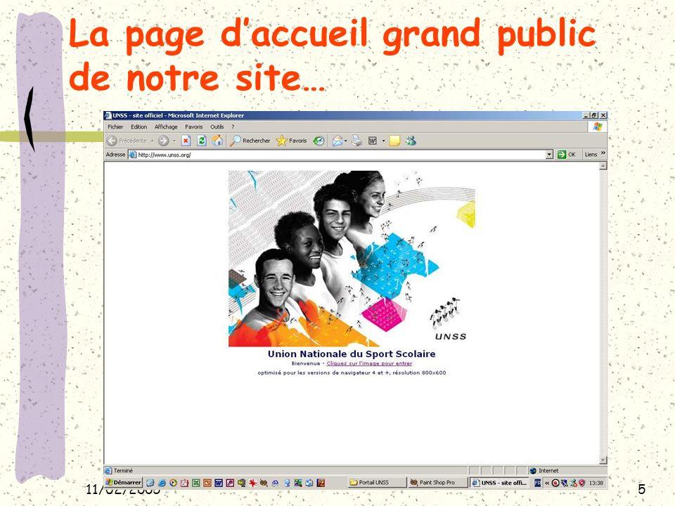 11/02/20056 La 1ère page grand public de notre site… Cliquer sur cette icône pour laccès à Intranet