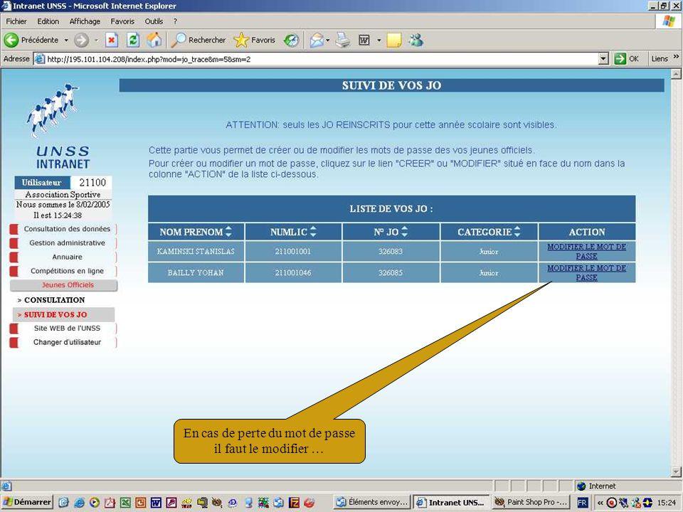 11/02/200551 En cas de perte du mot de passe il faut le modifier …