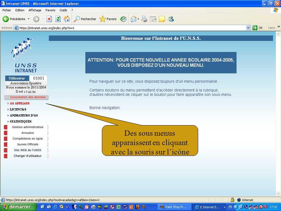 11/02/200540 Saisir les 4 derniers chiffres du N° de licence … Renseigner les rubriques nécessaires …
