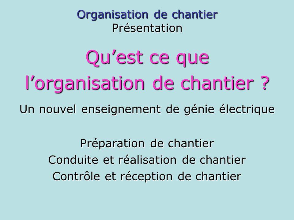 Présentation Quest ce que lorganisation de chantier ? Un nouvel enseignement de génie électrique Préparation de chantier Conduite et réalisation de ch