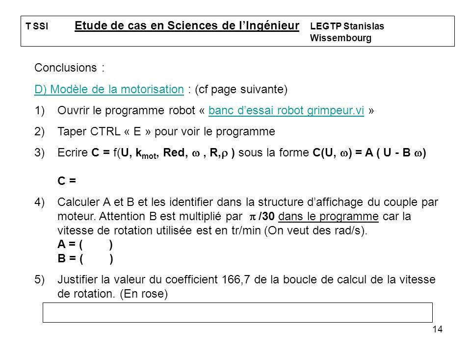 14 T SSI Etude de cas en Sciences de lIngénieur LEGTP Stanislas Wissembourg Conclusions : D) Modèle de la motorisation : (cf page suivante) 1)Ouvrir l