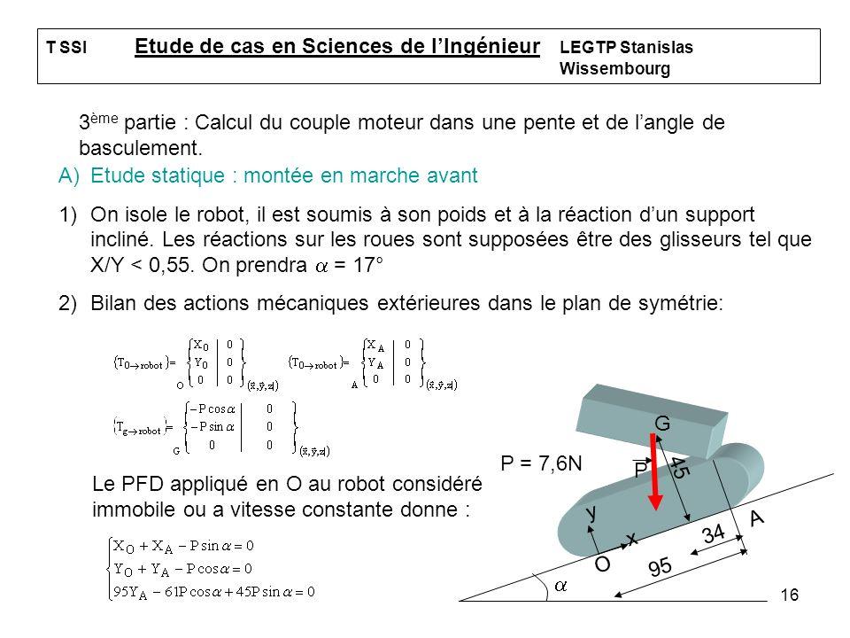 16 T SSI Etude de cas en Sciences de lIngénieur LEGTP Stanislas Wissembourg 3 ème partie : Calcul du couple moteur dans une pente et de langle de basc