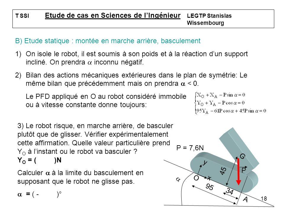 18 T SSI Etude de cas en Sciences de lIngénieur LEGTP Stanislas Wissembourg B) Etude statique : montée en marche arrière, basculement 1)On isole le ro