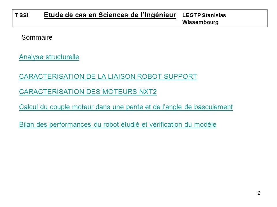 2 T SSI Etude de cas en Sciences de lIngénieur LEGTP Stanislas Wissembourg Sommaire Analyse structurelle CARACTERISATION DE LA LIAISON ROBOT-SUPPORTRO