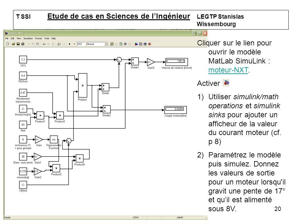 20 T SSI Etude de cas en Sciences de lIngénieur LEGTP Stanislas Wissembourg Cliquer sur le lien pour ouvrir le modèle MatLab SimuLink : moteur-NXT. mo