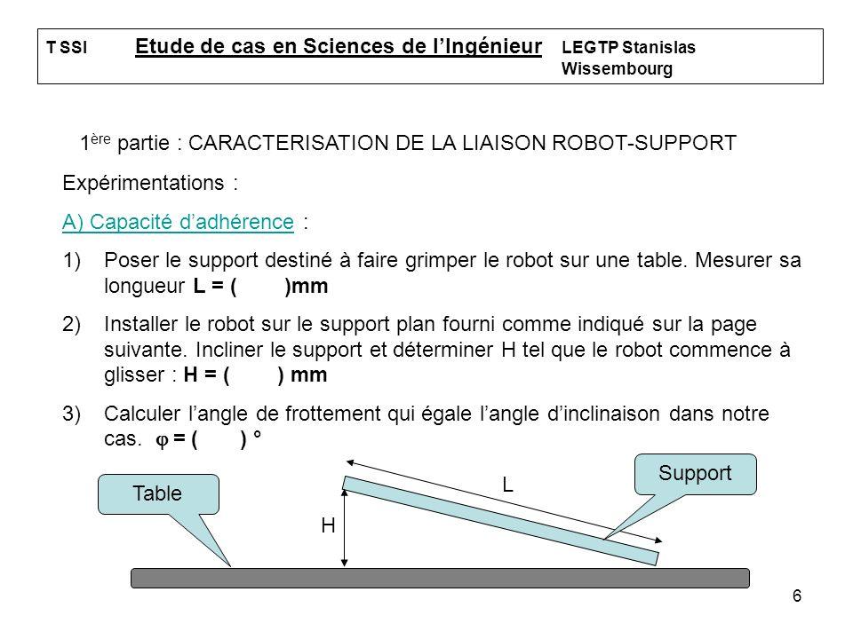6 T SSI Etude de cas en Sciences de lIngénieur LEGTP Stanislas Wissembourg 1 ère partie : CARACTERISATION DE LA LIAISON ROBOT-SUPPORT Expérimentations