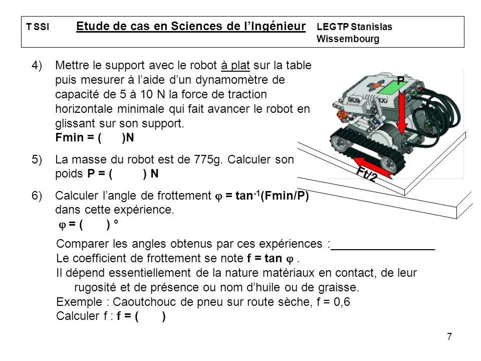 7 T SSI Etude de cas en Sciences de lIngénieur LEGTP Stanislas Wissembourg 4)Mettre le support avec le robot à plat sur la table puis mesurer à laide