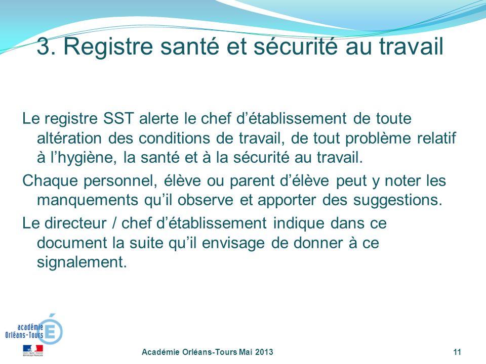 11 Le registre SST alerte le chef détablissement de toute altération des conditions de travail, de tout problème relatif à lhygiène, la santé et à la