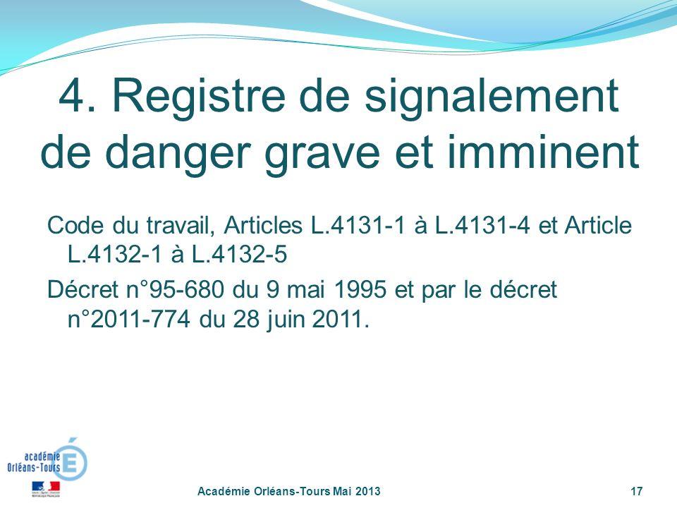17 4. Registre de signalement de danger grave et imminent Code du travail, Articles L.4131-1 à L.4131-4 et Article L.4132-1 à L.4132-5 Décret n°95-680