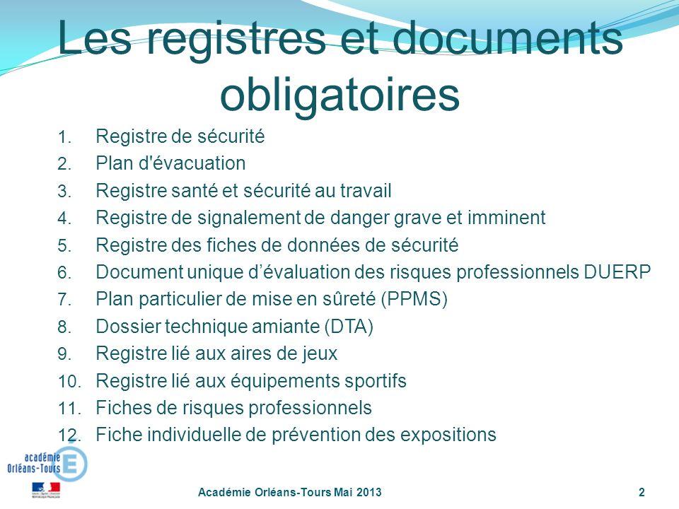 2 Les registres et documents obligatoires 1. Registre de sécurité 2. Plan d'évacuation 3. Registre santé et sécurité au travail 4. Registre de signale