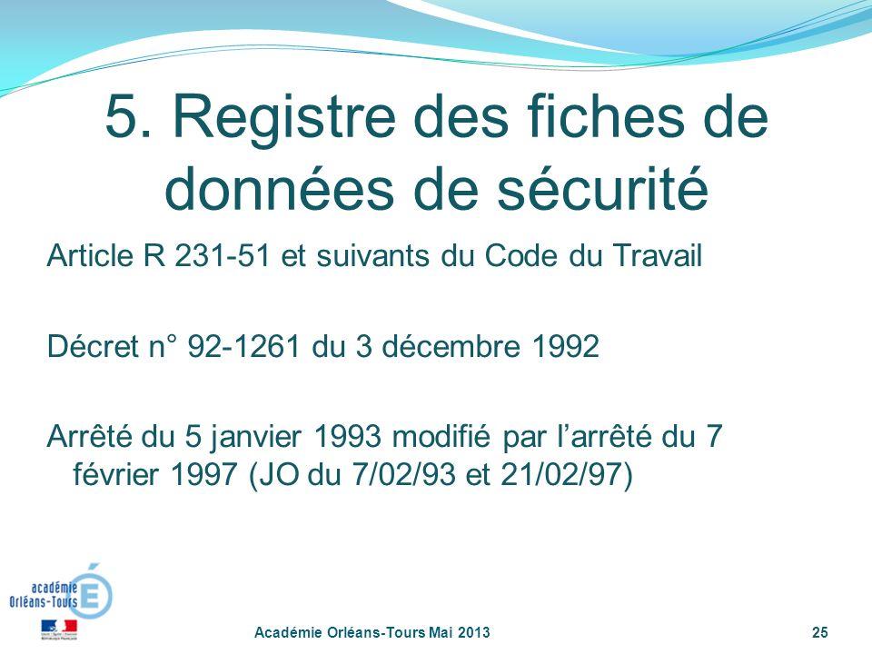 25 5. Registre des fiches de données de sécurité Article R 231-51 et suivants du Code du Travail Décret n° 92-1261 du 3 décembre 1992 Arrêté du 5 janv