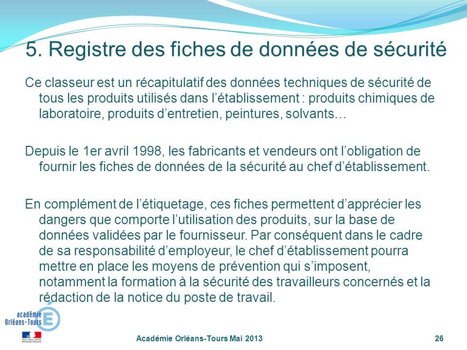26 5. Registre des fiches de données de sécurité Ce classeur est un récapitulatif des données techniques de sécurité de tous les produits utilisés dan