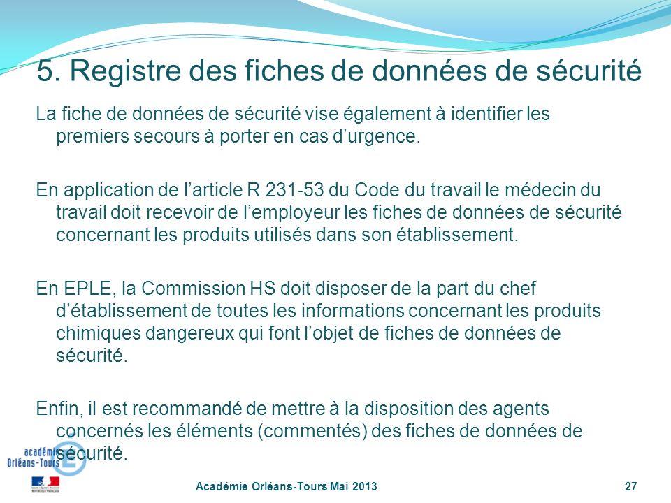 27 La fiche de données de sécurité vise également à identifier les premiers secours à porter en cas durgence. En application de larticle R 231-53 du C