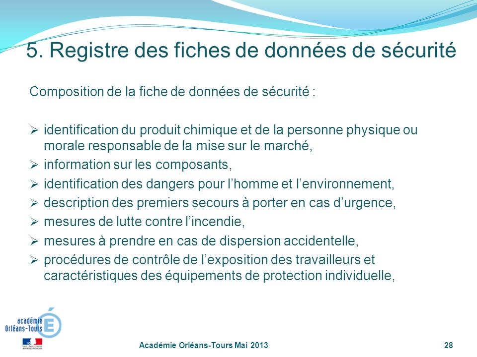 28 Composition de la fiche de données de sécurité : identification du produit chimique et de la personne physique ou morale responsable de la mise sur
