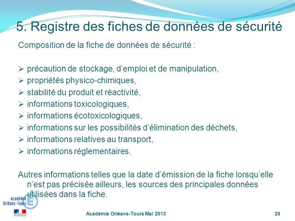 29 Composition de la fiche de données de sécurité : précaution de stockage, demploi et de manipulation, propriétés physico-chimiques, stabilité du pro