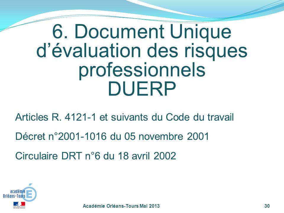 6. Document Unique dévaluation des risques professionnels DUERP Académie Orléans-Tours Mai 201330 Articles R. 4121-1 et suivants du Code du travail Dé