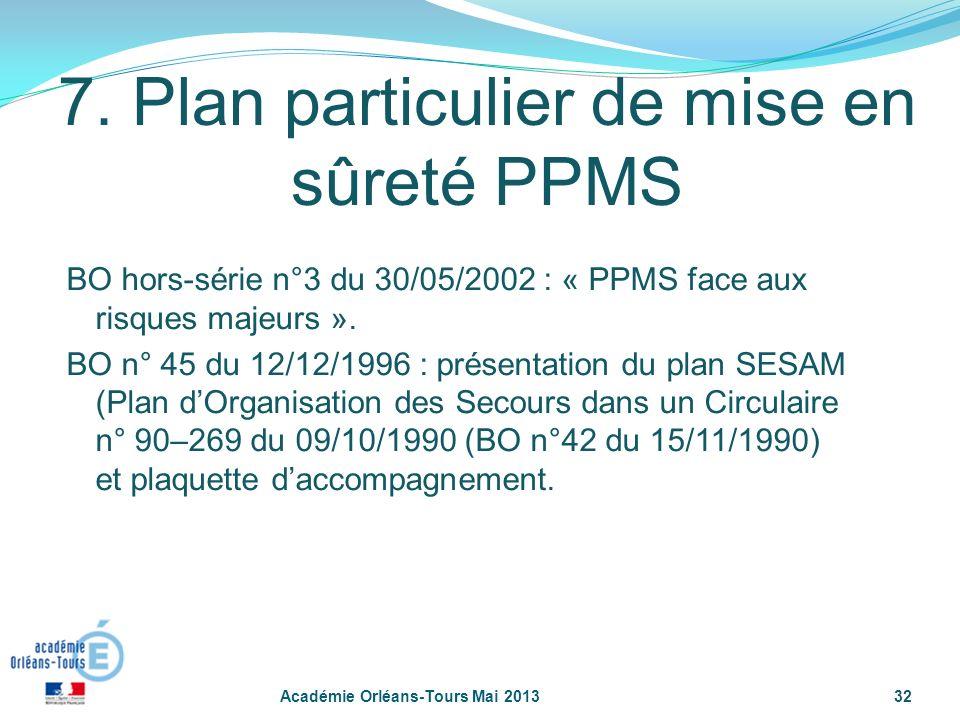 32 7. Plan particulier de mise en sûreté PPMS BO hors-série n°3 du 30/05/2002 : « PPMS face aux risques majeurs ». BO n° 45 du 12/12/1996 : présentati