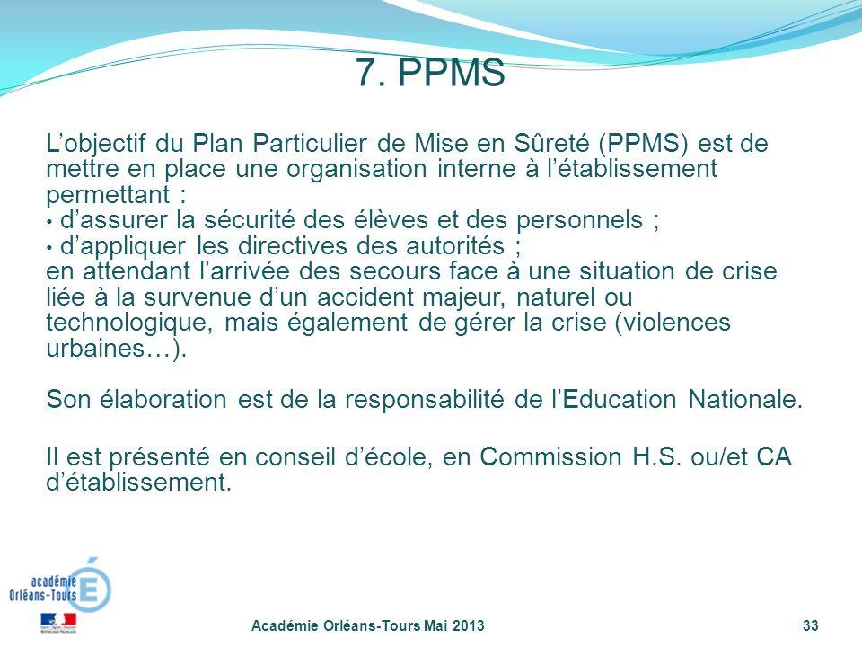 33 Lobjectif du Plan Particulier de Mise en Sûreté (PPMS) est de mettre en place une organisation interne à létablissement permettant : dassurer la sé