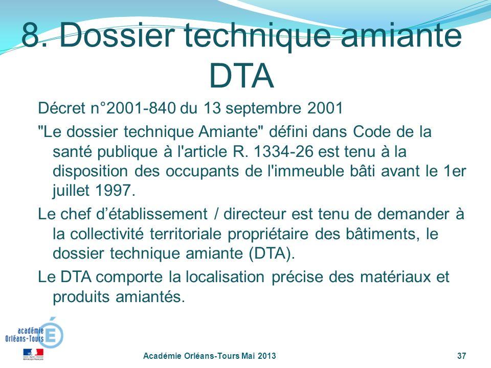 37 8. Dossier technique amiante DTA Décret n°2001-840 du 13 septembre 2001