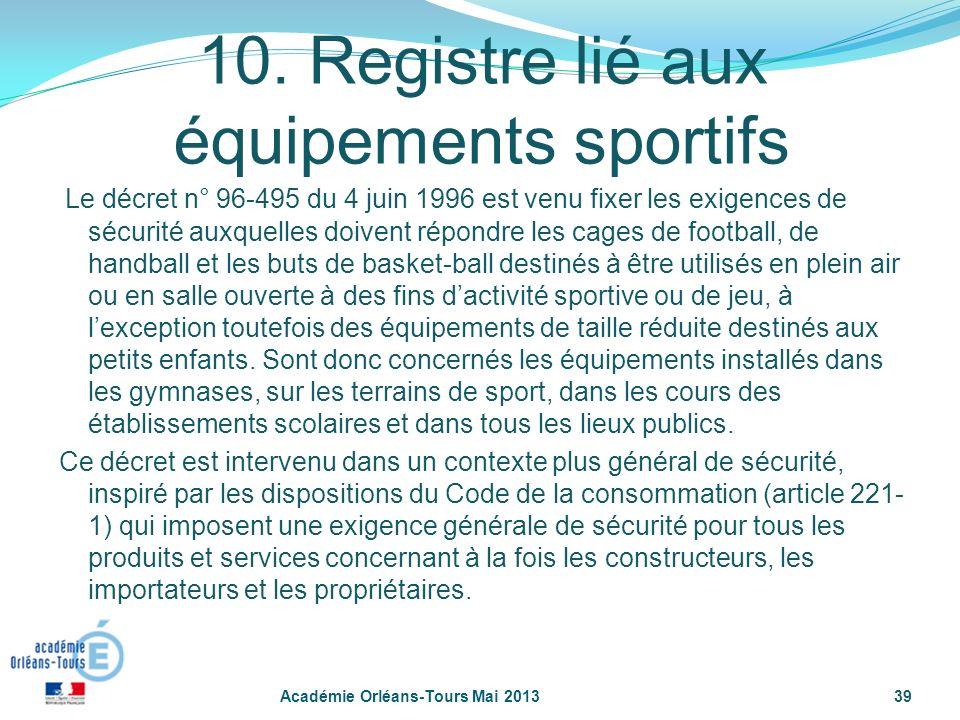 39 10. Registre lié aux équipements sportifs Le décret n° 96-495 du 4 juin 1996 est venu fixer les exigences de sécurité auxquelles doivent répondre l