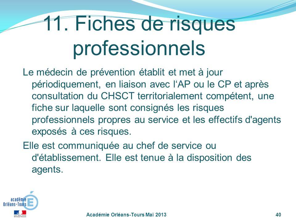 40 11. Fiches de risques professionnels Le médecin de prévention établit et met à jour périodiquement, en liaison avec lAP ou le CP et après consultat