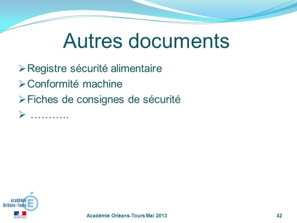 42 Autres documents Registre sécurité alimentaire Conformité machine Fiches de consignes de sécurité ……….. Académie Orléans-Tours Mai 2013