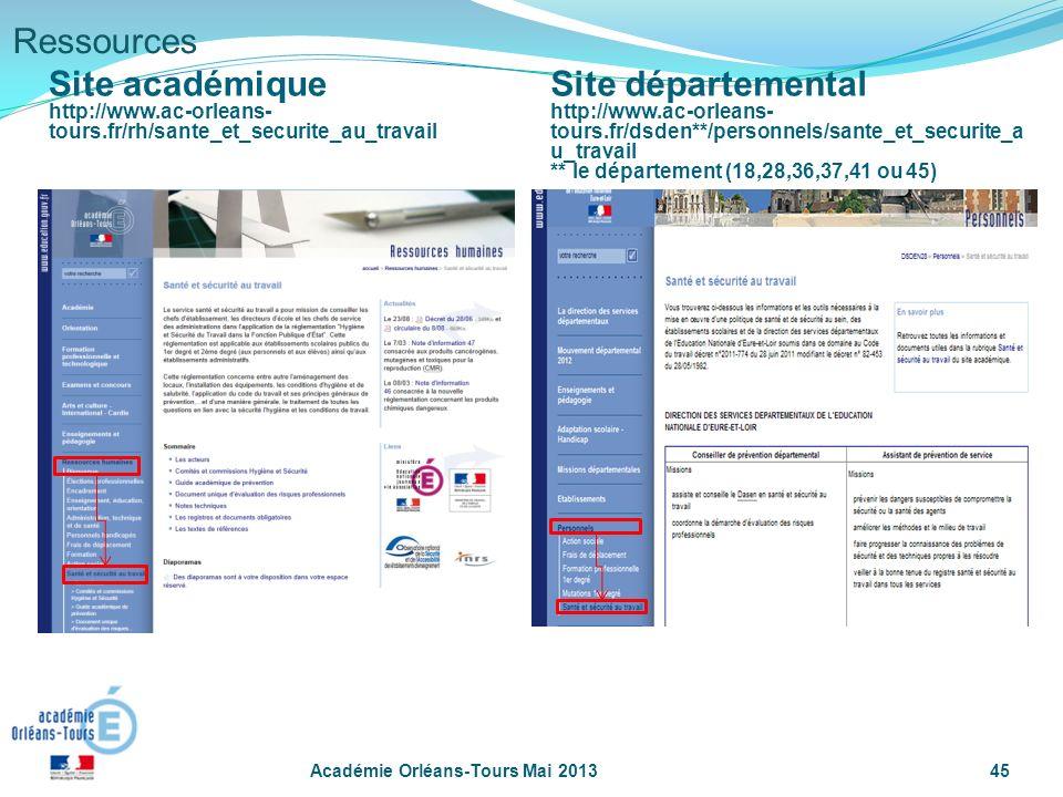 Académie Orléans-Tours Mai 201345 Ressources Site académique http://www.ac-orleans- tours.fr/rh/sante_et_securite_au_travail Site départemental http:/