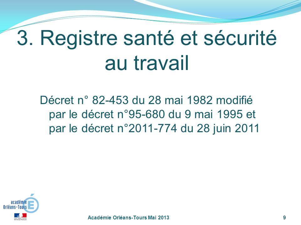 9 3. Registre santé et sécurité au travail Décret n° 82-453 du 28 mai 1982 modifié par le décret n°95-680 du 9 mai 1995 et par le décret n°2011-774 du