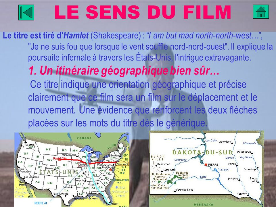 LE SENS DU FILM Le titre est tiré d' Hamlet (Shakespeare) : I am but mad north-north-west…,