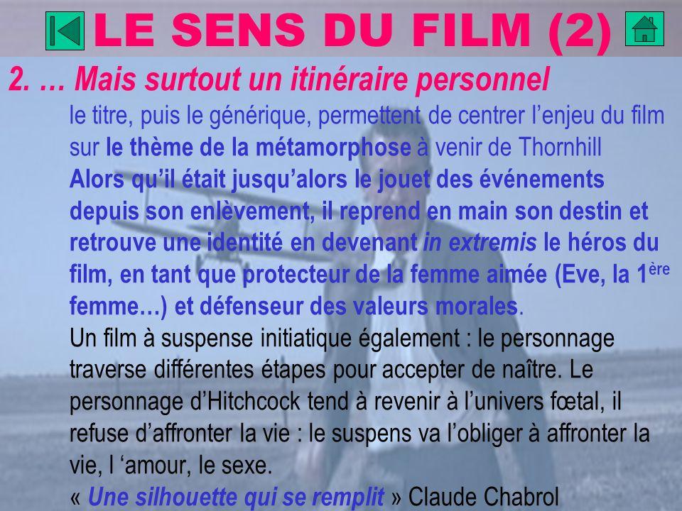 LE SENS DU FILM (2) 2. … Mais surtout un itinéraire personnel le titre, puis le générique, permettent de centrer lenjeu du film sur le thème de la mét