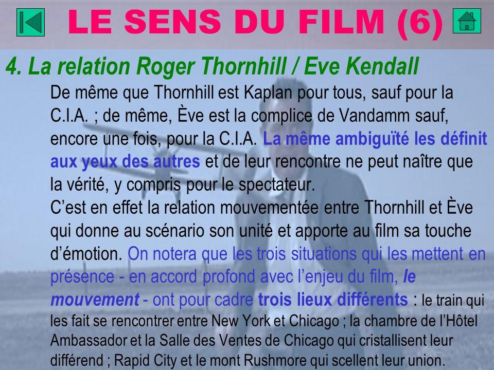 LE SENS DU FILM (6) 4. La relation Roger Thornhill / Eve Kendall De même que Thornhill est Kaplan pour tous, sauf pour la C.I.A. ; de même, Ève est la