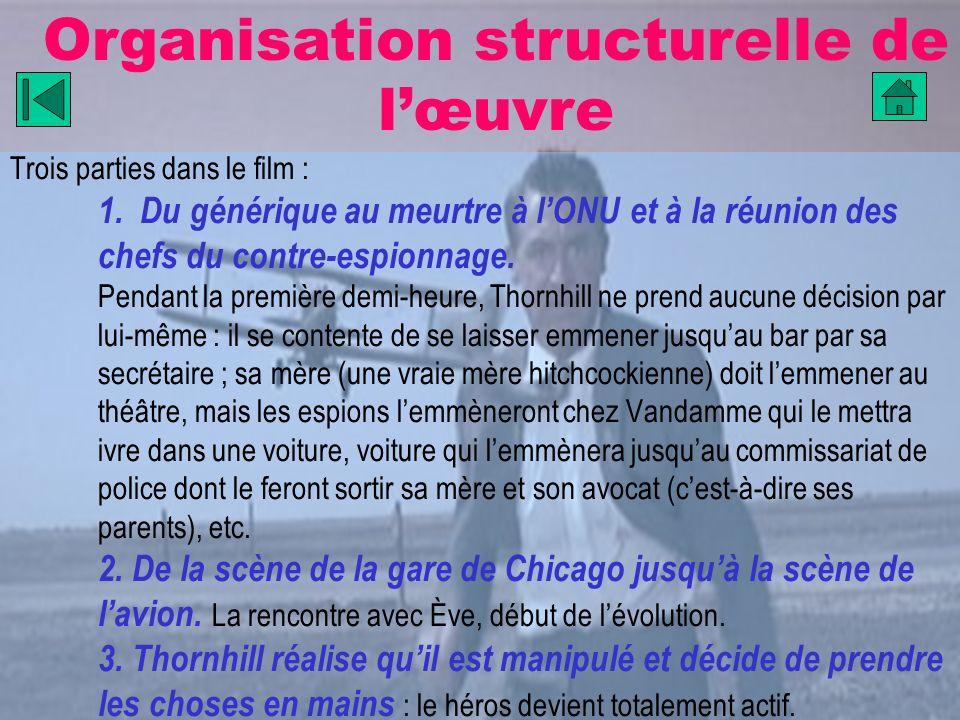 Organisation structurelle de lœuvre Trois parties dans le film : 1. Du générique au meurtre à lONU et à la réunion des chefs du contre-espionnage. Pen
