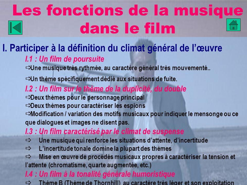 Les fonctions de la musique dans le film I. Participer à la définition du climat général de lœuvre I.1 : Un film de poursuite Une musique très rythmée