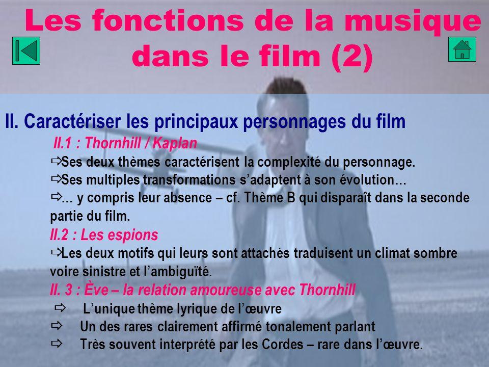 Les fonctions de la musique dans le film (2) II. Caractériser les principaux personnages du film II.1 : Thornhill / Kaplan Ses deux thèmes caractérise