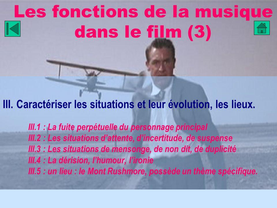 Les fonctions de la musique dans le film (3) III. Caractériser les situations et leur évolution, les lieux. III.1 : La fuite perpétuelle du personnage