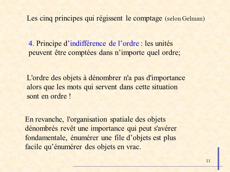 11 4. Principe dindifférence de lordre : les unités peuvent être comptées dans nimporte quel ordre; L'ordre des objets à dénombrer n'a pas d'importanc