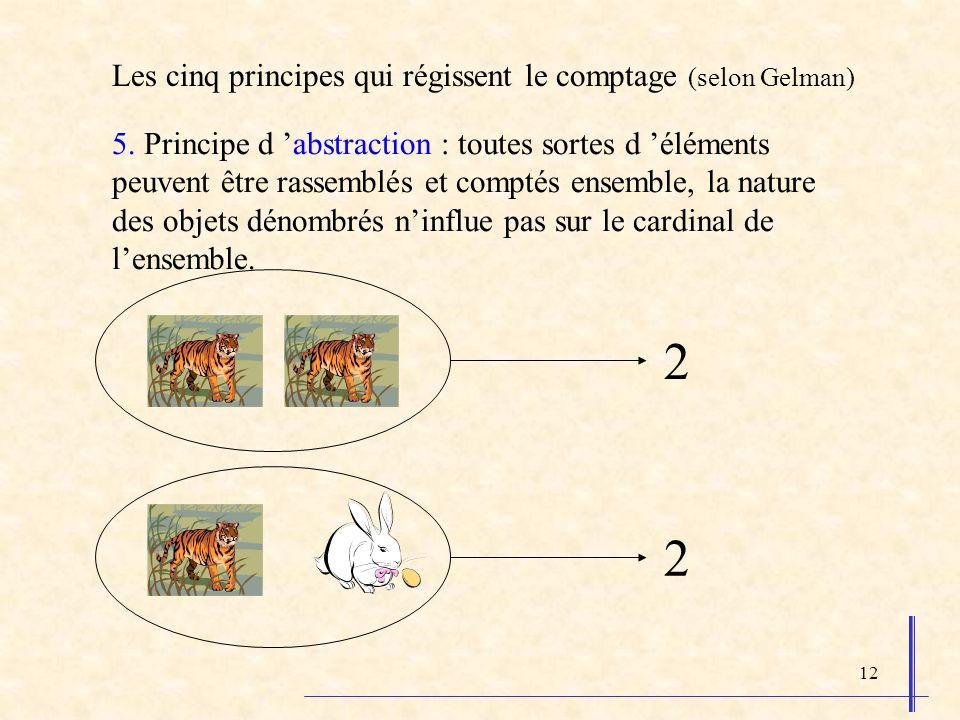 12 5. Principe d abstraction : toutes sortes d éléments peuvent être rassemblés et comptés ensemble, la nature des objets dénombrés ninflue pas sur le